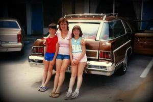 Our family car in the mid '80's. Why am I the only one NOT wearing flip flops?