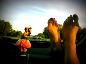 Feet on the dash