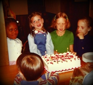 Aww, shucks. My 8th birthday party. I'm in the blue jumpsuit, soakin it all in.