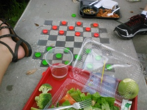 One of our first school lunches together this year. There was a mad game of checkers going on in between bites.